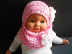 ensemble bebe fille bonnet et snood en laine rose et blanc fait main au  crochet   0680a8121e9