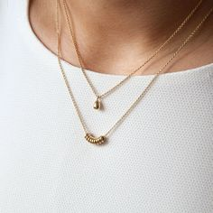 Lovely delicate gold necklace that are perfect for layering. Those simple yet cute necklaces are made out of sterling silver and are available in silver and gold.