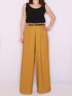 High waist Wide leg pants Mustard yellow pants with pockets