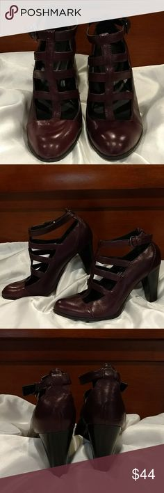 EPOC  Burgundy BORN Pumps Size 7 Beautiful burgundy leather strapy BORN Crown pump heels excellent pre loved condition size 7 very comfortable shoes! BORN Shoes