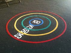 The Bullseye Target playground marking is always popular with schools as it helps to promote coordination dexterity and social skills within the playground. Outside Playground, Toddler Playground, Preschool Playground, Playground Games, Backyard Playground, Playground Painting, Outdoor Classroom, School Games, Activities For Kids
