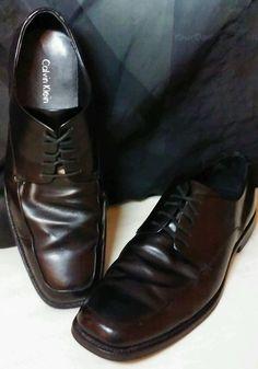 Calvin Klein Hamilton II Black Leather Oxford Lace-up Dress Shoes Mens 10M #CalvinKlein #Oxfords