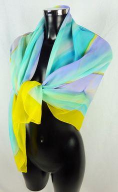 Foulard multicolore pastel BACCARA Années 80 de la boutique TheNuLIFEshop sur Etsy
