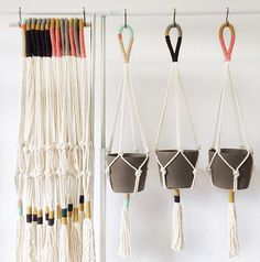 looped color-block plant hangers -- DIY inspiration