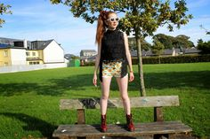 Sunflower shorts paired with cherry red 1460 Dr Martens boots on Bec boop fashion blog outfit post