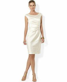 Lauren by Ralph Lauren - White Cap-sleeve Satin Sheath Dress Off White Dresses, Satin Dresses, Bridal Dresses, Bridesmaid Dresses, Dresses For Work, Formal Dresses, Dress Wedding, Bridesmaids, Ralph Lauren Cap