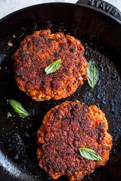 Blackened Salmon Burgers with Herbed Cream Cheese | halfbakedharvest.com #salmon #recipe #easy #healthy