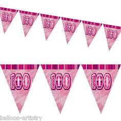 12ft pink #glitz #100th birthday pennant flag banner #bunting decoration,  View more on the LINK: http://www.zeppy.io/product/gb/2/400396382211/