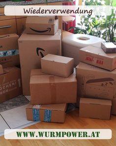 """Manche haben sich schon gewundert in was für 📦 """"Paketen"""" unsere Ware kommt. Ob Amazon, Hornbach, HelloFresh😊oder aus eigener Konstruktion. Wiederverwendung ♻️ von Paketkartons ist unsere Sache.  Für Abfallvermeidung und der Zero Waste Bewegung, nutzen wir alle Kartons die noch gut sind und eben wieder genutzt werden können. Letztendlich geben Sie den Karton in Ihren Wurmkomposter. Die Einwohner werden dankbar sein. 👍🏼♻️☀️ #wurmpower #abfallvermeidung #zerowaste #wiedervervenden… Zero, Container, Earthworms, Grateful, Paper Board"""