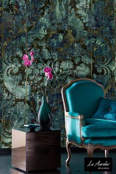 Dutch Delight...  (Wallpaper Collection 2018: 'Prestige') #LaAurelia #wallpaper #wallcovering #behang #green #smaragdgroen #smaragd #groen #interior #baroque #artnouveau #artdeco #blue #aqua