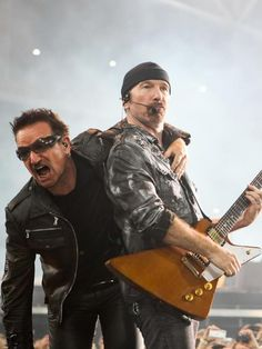 """Edge : """"Do you want to kiss me?"""" Bono: """"I don't think you should encourage them. Best Rock Bands, Cool Bands, Rock N Roll Music, Rock And Roll, Good Music, My Music, U2 Live, Running To Stand Still, Paul Hewson"""