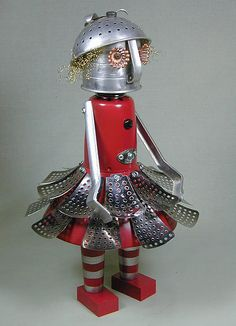 """""""Spring"""" - Found Object Robot Sculpture by Sally Colby/ Nutzen Bolts Works"""