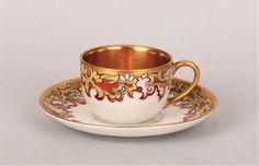 Fine china cup and saucer, Wałbrzych (Waldenburg), 1920-1930  Krister Porzellan-Manufaktur - Early 20th century porcelain teacup tea cup coffee cup. Gold gilt. Fine china.