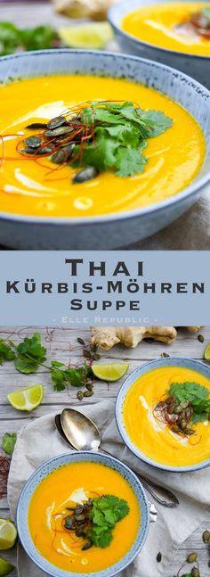 Thai Kürbis-Möhren-Suppe mit geröstetem Butternusskürbis (low-fat, ohne Sahne)