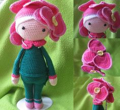 Orchid Ollie flower doll made by Marjan GK - crochet pattern by Zabbez