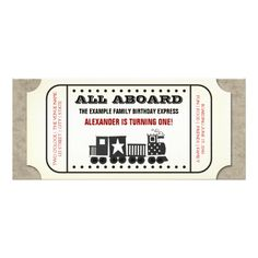 Adorable red and black vintage train ticket birthday party invitation template. This cute red, black and white vintage train ticket invitation is easily customized for your event by choosing the customize it button. Personalized Birthday Invitations, Custom Baby Shower Invitations, Vintage Invitations, Birthday Party Invitations, Personalized Baby, Trains Birthday Party, Train Party, Birthday Parties, Baby Shower Vintage