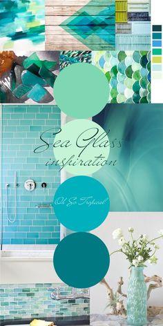 Sea Glass Inspiration - Oh So Tropical! tropical bathroom, tropical bathroom decor, tropical home decor, tropical decor Tropical Home Decor, Tropical Houses, Coastal Decor, Coastal Colors, Tropical Bathroom Decor, Tropical Colors, Coastal Homes, Teal Living Rooms, Mermaid Bathroom