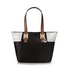 Black colour block shoulder bag