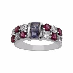 0.8ct Princess Cut Iolite White Topaz Rhodolite Garnet Band Ring Silver Jewelry #Handmade #Cluster #MothersDay