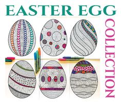 Easter Egg Collection - PDF Zentangle Coloring Pages