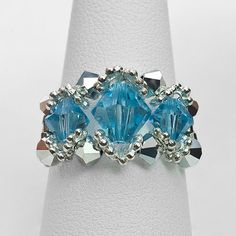 Gemstone Rings | Aquamarine 3 Stone Beaded Ring : Babylon Studios Store