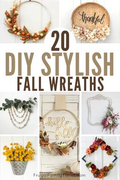 Here are so many unique DIY fall wreath ideas with style! Making fall wreath crafts is a creative and affordable way to celebrate autumn. Included are embroidery hoop wreaths, burlap wreaths, basket wreaths, a paper fern wreath and other simple and modern fall wreath crafts. Diy Fall Wreath, Autumn Wreaths, Wreath Crafts, Holiday Wreaths, Decor Crafts, Burlap Wreaths, Wreath Ideas, Felt Flower Wreaths, Dollar Store Christmas