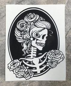 Skeleton Pinup Girl Wineglass or Decal,Customizable Vinyl Decal/Skeleton Pin Up Girl Bumper Sticker,Pinup Girl Art Deco Tattoos Skull, Girl Tattoos, Maori Tattoos, Verse Tattoos, Filipino Tattoos, Pin Up Tattoos, Arrow Tattoos, Car Bumper Stickers, Car Decal
