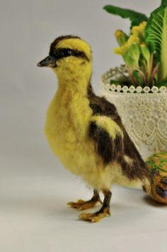 Needle Felted Bird Yellow Easter Duckling Ester ducking.