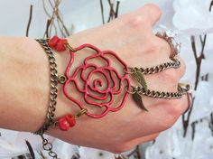 Red Rose Slave Bracelet Ring Hand painted by TheMysticalOasisGlow, $25.00