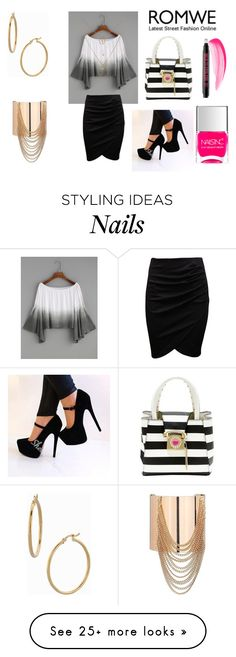 """""""Romwe Ombre Boat Neck Bell Sleeve Crop Top"""" by holly32196 on Polyvore featuring Betsey Johnson, Mixit, Bony Levy and Nails Inc."""