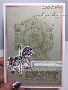 """What better way to celebrate the new year than with new stamps? So today I am using the lovely """"Carousel Birthday"""" stamp set to creat. Stampin Up Carousel Birthday, Carnival Card, Craftwork Cards, Girl Birthday Cards, Hand Stamped Cards, Beautiful Handmade Cards, Creative Cards, Kids Cards, Homemade Cards"""