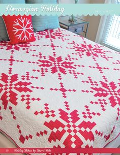 Sherri Falls of This & That Pattern Company for It's Sew Emma All your holiday wishes will come true with perfect projects for every room in the house! Complete instructions for twelve cozy Christmas projects. Star Quilt Patterns, Pattern Blocks, Book Quilt, Quilt Top, Two Color Quilts, Red And White Quilts, Winter Quilts, Traditional Quilts, Quilting Designs