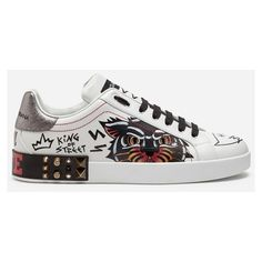 Dolce & Gabbana Portofino Sneakers in Printed Calfskin With Appliques ($1,200) ❤ liked on Polyvore featuring men's fashion, men's shoes, men's sneakers, white, mens white sneakers, mens white shoes, calfskin mens shoes and dolce gabbana mens shoes