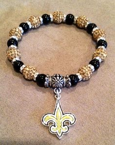 New Orleans Saints Bead Charm Bracelet