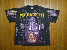 Megadeth Shirt Vintage tshirt Rare 1991 Vic Rattlehead All Over Print tee 1990s | eBay