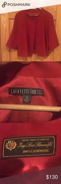 Like New Lafayette 148 Swing Coat - 100% Cashmere! Lafayette 148 100% Loro Piana cashmere swing coat/jacket. Never worn! Wide 3/4 sleeves, button up front, pleat in back - super cute! Size 12 but can fit smaller sizes and worn as more of a cape style. The interior has a very soft, silky lining. This was purchased in London several years ago and I'm having trouble finding this exact style online, but I've priced it very reasonably, based off a similar jacket that I recently saw listed on…