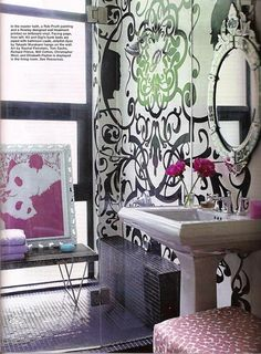 Save the Date: EOS + Cynthia Rowley! « Elements of Style Blog -- wall design and mirror