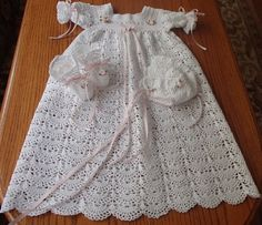 Victorian Crocheted Baby Christening Gown, Dress, Hat, and Bootie Set  | crochetby51bebe - Clothing on ArtFire