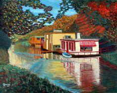 Geïnspireerd door Vincent van Gogh. Woonboten in Nijverheidssingel, Breda, NL. Olieverf op doek, 40x50 cm, door Annerieke Smits-Vermeulen, 2015. Verkocht.