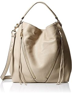 Hobo bag in pebbled leather featuring diagonal front zippers with long fringe pulls Single shoulder strap and removable/adjustable cross-body strap Rebecca Minkoff Handbags, Beautiful Bags, Pebbled Leather, Fashion Bags, Purses And Bags, Shoulder Strap, Crossbody Bag, Hobo Bags, Baggage