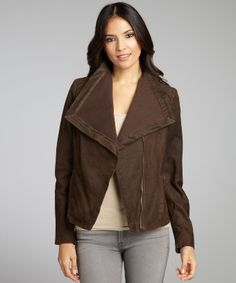 Nicole Miller : chocolate leather and knit moto jacket : style # 319759801