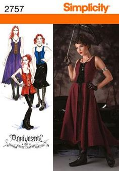 Womens Costume Sewing Pattern 2757 Simplicity