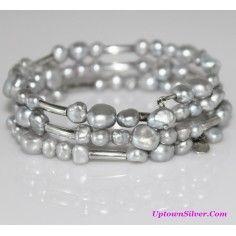 Silpada Artisan Jewelry Light Gray Frehwater Pearl 925 Sterling Silver 7 Inch Wrap Bracelet Retired Rare
