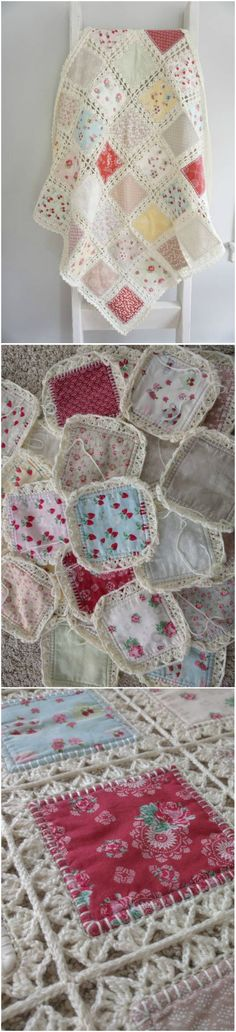 This Fabric Crochet Quilt is beyond gorgeous and you will love to make it for a favourite space in your place. Crochet Quilt Pattern, Crochet Edging Patterns, Crochet Fabric, Crochet Squares, Free Crochet, Quilt Patterns, Knit Crochet, Crochet Edgings, Crochet Baby