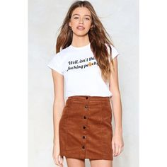 Nasty Gal Flock Together Corduroy Skirt ($28) ❤ liked on Polyvore featuring skirts, brown, high-waisted skirt, nasty gal, corduroy skirt, high rise skirts and brown mini skirt