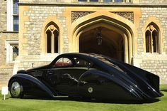 1935 Rolls-Royce Phantom I Jonckheere Coupe | The commissioning owner of the car is uncertain due to war damage at the factory, but the design is not. The Jonckheeres created an extravagant body which has just as much impact 75 years after its constuction as it did in 1935. The car was finished in time for the Concours on the French Riviera where it won the 'Prix de Cannes' award. Such a striking car would certainly have to have an eccentric owner and certainly be born in the Art Deco…
