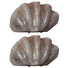Pair of Venetian Murano Glass Clam Shell Scones