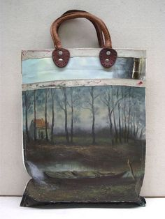 Painting Bag - The Woods. These handbags are made by hand using vintage oil paintings sourced exclusively from markets in Holland and Belgium. #FashionTakesAction