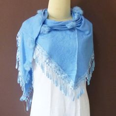 4194a104ec Light blue Triangle scarf 57 x 27 inch lace shawl by TuesdayTee