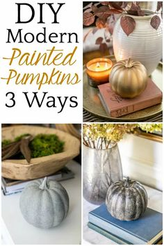 DIY Modern Painted Pumpkins 3 Ways | 3 techniques for DIY painted pumpkins using spray paint, metallics, and dirt to create concrete, antique brass, and black earthenware looks.